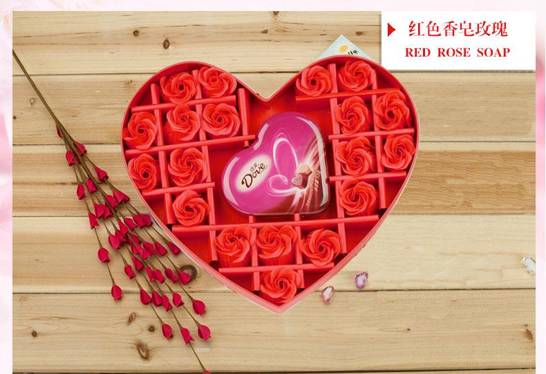 红色心型香皂花礼盒(丝带):19朵红色香皂花+53克德芙